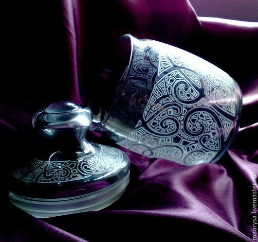 Банка с крышкой украшенные ручной алмазной гравировкой