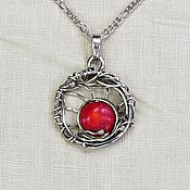 Украшения handmade. Livemaster - original item Pendant with red coral round pendant red pendant for every day. Handmade.