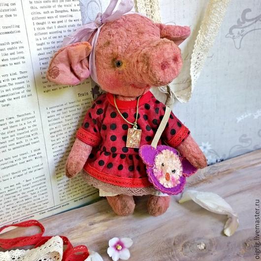 Мишки Тедди ручной работы. Ярмарка Мастеров - ручная работа. Купить Пеппа. Handmade. Бледно-розовый, тедди, хлопок