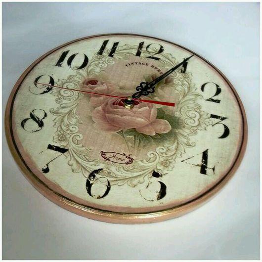 """Часы для дома ручной работы. Ярмарка Мастеров - ручная работа. Купить Часы настенные """"Роза """". Handmade. Бледно-розовый"""