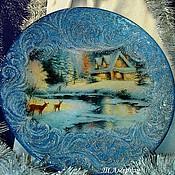 """Посуда ручной работы. Ярмарка Мастеров - ручная работа Декоративная тарелка """"Морозные узоры"""". Handmade."""