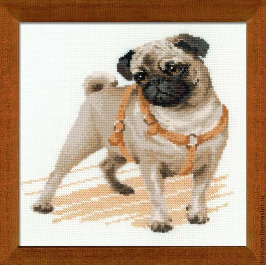 """Животные ручной работы. Ярмарка Мастеров - ручная работа. Купить Вышитая картина""""Мопс"""". Handmade. Мопс, мопсик, собака"""