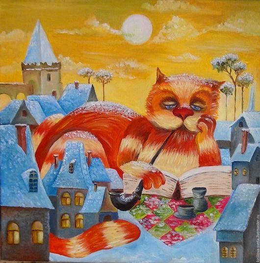 """Животные ручной работы. Ярмарка Мастеров - ручная работа. Купить Картина """"Рыжий кот"""". Handmade. Кот в подарок, картина на холсте"""