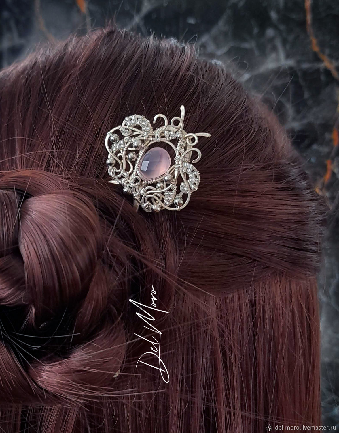 Hairpin with chalcedony stone ' Lavender', Hairpin, St. Petersburg,  Фото №1