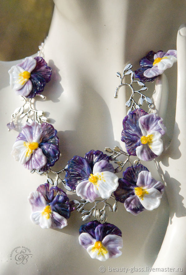 'Pansies ' necklace and earrings lampwork, Jewelry Sets, St. Petersburg,  Фото №1