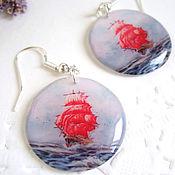 Украшения handmade. Livemaster - original item Translucent Earrings Round Scarlet Sails Assol Sky Sea Sail. Handmade.