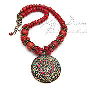 Украшения handmade. Livemaster - original item Ethnic necklace coral coral necklace in ethnic style red pendant. Handmade.