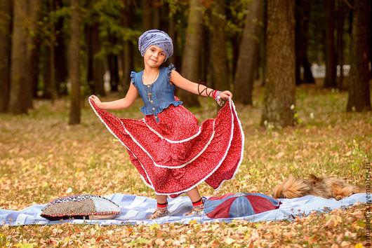 Одежда для девочек, ручной работы. Ярмарка Мастеров - ручная работа. Купить Платье Рената. Handmade. Бордовый, джинсовая ткань