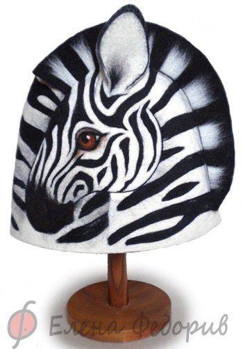 """Банные принадлежности ручной работы. Ярмарка Мастеров - ручная работа. Купить Шапка для бани """"Зебра"""". Handmade. Банная шапка"""