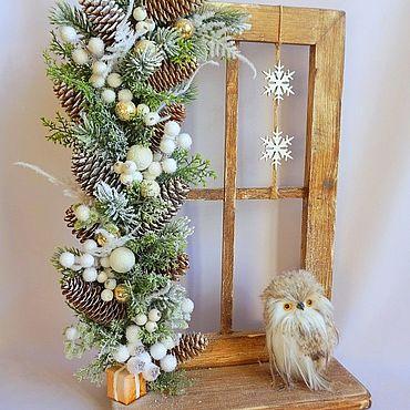"""Цветы и флористика ручной работы. Ярмарка Мастеров - ручная работа Новогоднее панно """"В ожидании Рождества"""" в бело-золотой гамме. Handmade."""