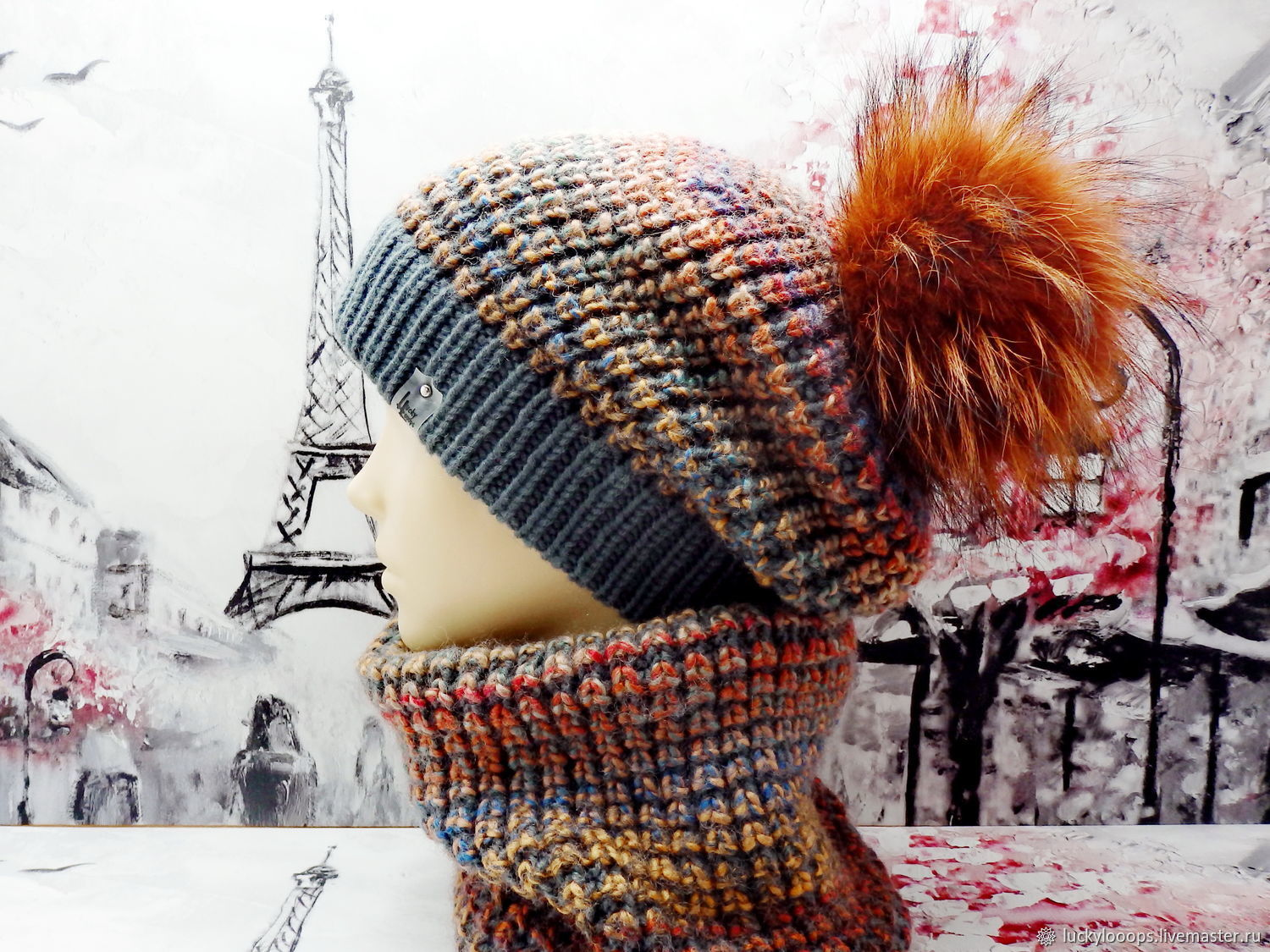 Set of 'Stones' with a pompom. Hat and Snood. The author's model, Headwear Sets, Moscow,  Фото №1