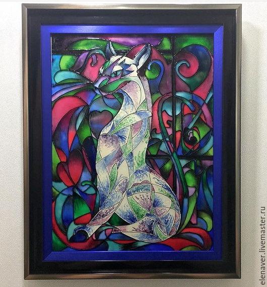 картина в подарок, кошка, купить картину, картинка, сиамская кошка, картина кошка, фото кошка, картинки кошки, витражная картина