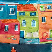 Аксессуары ручной работы. Ярмарка Мастеров - ручная работа Лодочки - шелковый шарф с ручной росписью (батик). Handmade.