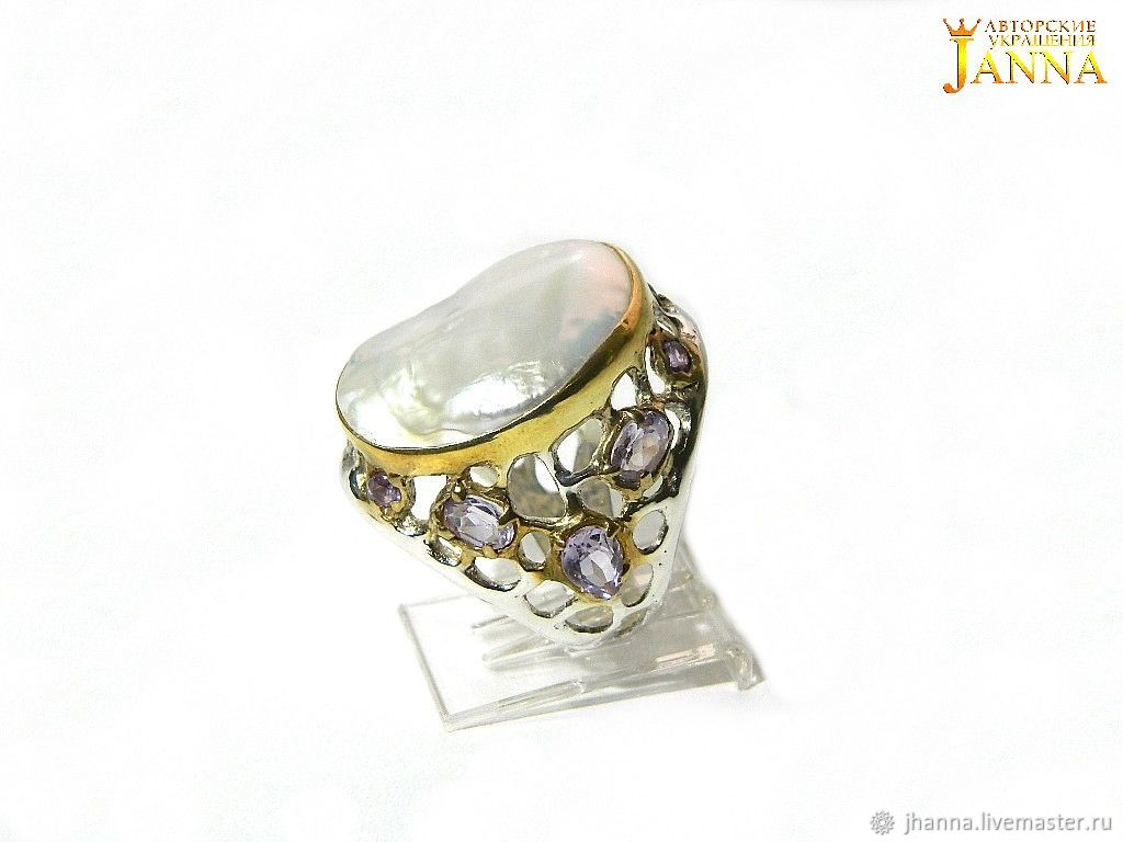 Pearl. ' Damona ' ring with a pearl, Rings, Volgograd,  Фото №1