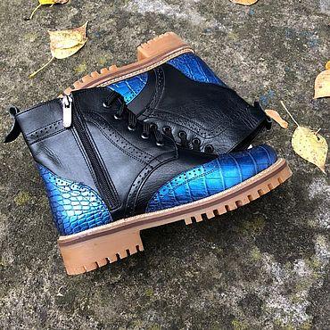 """Обувь ручной работы. Ярмарка Мастеров - ручная работа Ботинки """"Inspektor синяя рептилия/чёрная кожа"""" беж подошва. Handmade."""