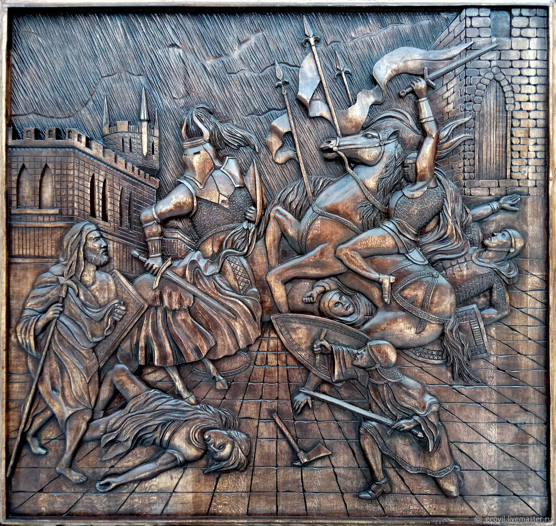 Backgammon-panel 'Knights', 2 in 1, 68x68 cm, handmade, Backgammon and checkers, St. Petersburg,  Фото №1