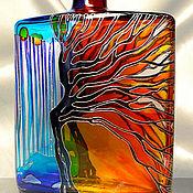Посуда handmade. Livemaster - original item Bottle jar Autumn stained glass painting. Handmade.