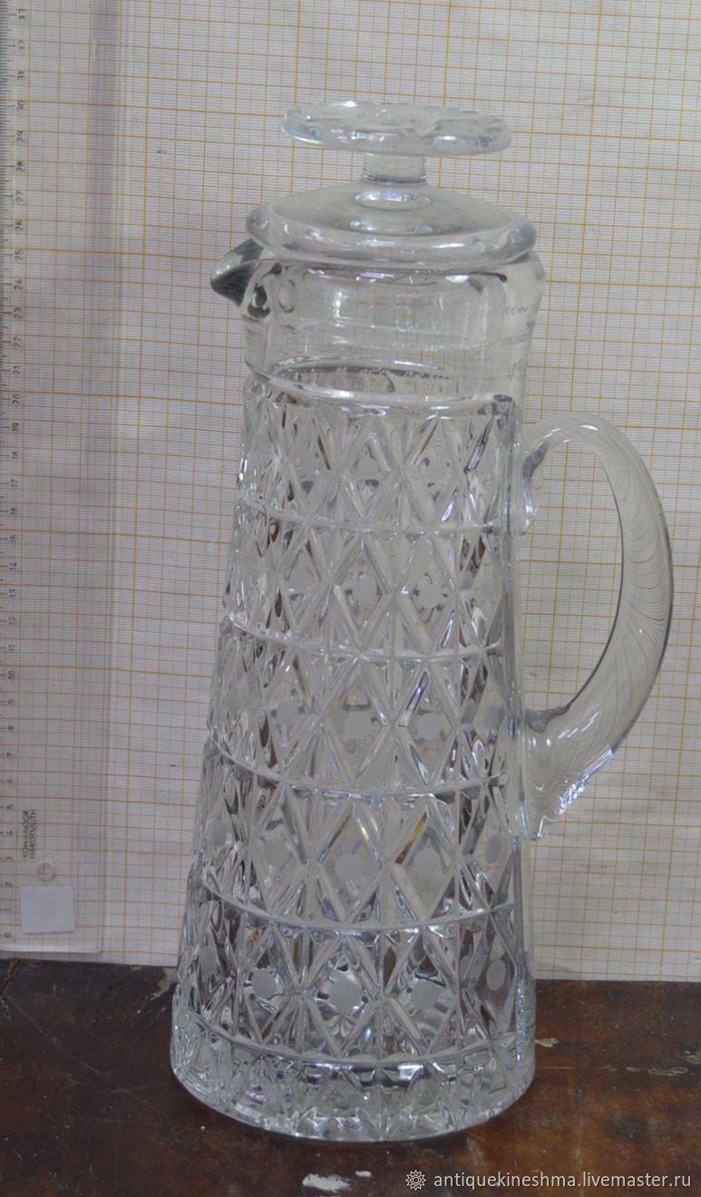 Decanter jug crystal, Vintage kitchen utensils, Kineshma,  Фото №1