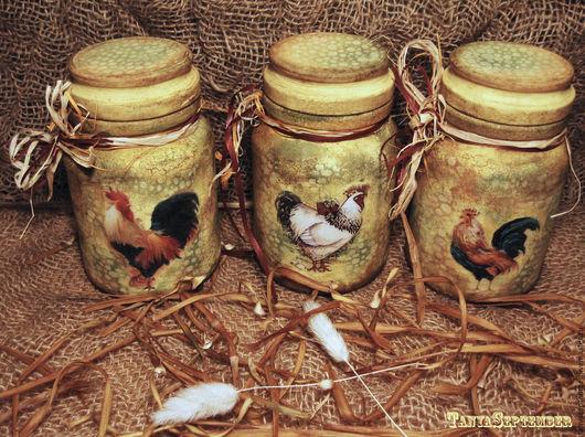 Кухня ручной работы. Ярмарка Мастеров - ручная работа. Купить Набор кухонных банок Петухи. Handmade. Оливковый, кухонный декор