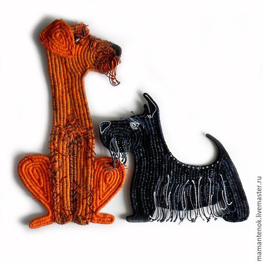 """Животные ручной работы. Ярмарка Мастеров - ручная работа. Купить Панно """"Два друга"""". Handmade. Рыжий, декор с собакой"""