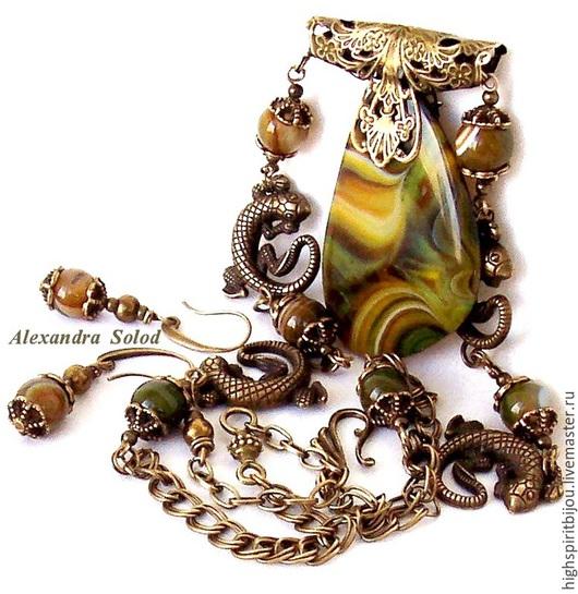 """Комплекты украшений ручной работы. Ярмарка Мастеров - ручная работа. Купить Комплект """"Танец саламандры""""/""""Salamander's Dance """": колье и с.- 2000. Handmade."""