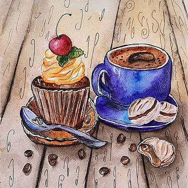 Дизайн и реклама ручной работы. Ярмарка Мастеров - ручная работа Кофе и пирожное. Handmade.