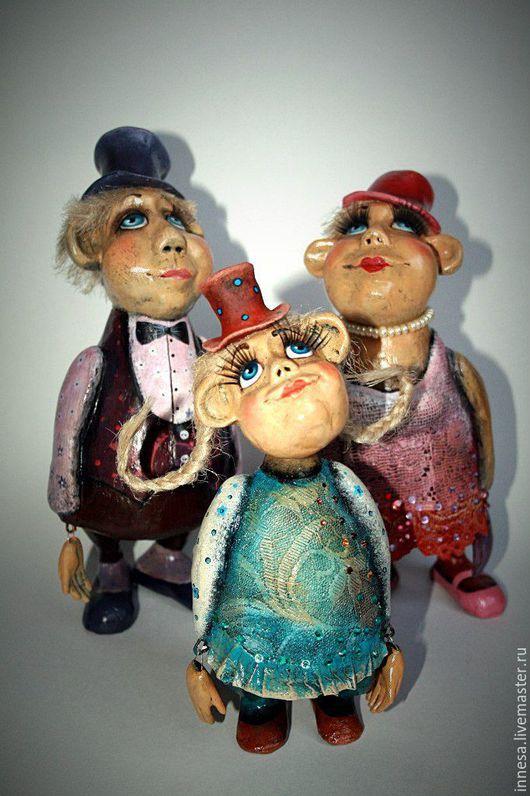 Коллекционные куклы ручной работы. Ярмарка Мастеров - ручная работа. Купить ОБЕЗЬЯНЫ. Handmade. Подарок на новый год, синий