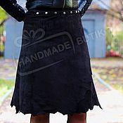 Одежда handmade. Livemaster - original item The knee-length skirt in suede Black with Rough edges. Handmade.