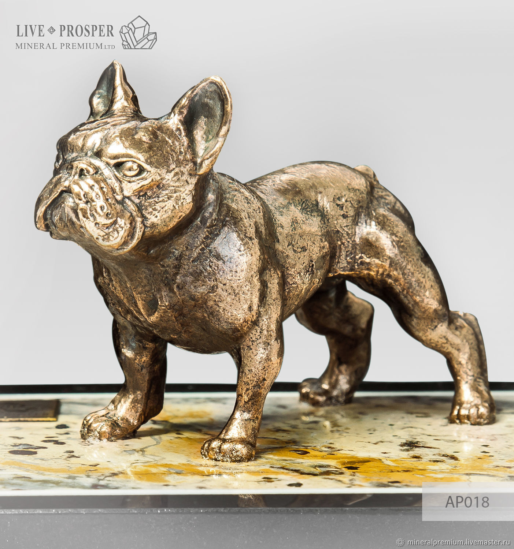 Bronze dog French Bulldog on the landscape Jasper, Figurines, Moscow,  Фото №1