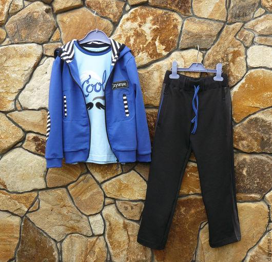 """Одежда для мальчиков, ручной работы. Ярмарка Мастеров - ручная работа. Купить Трикотажный комплект """"Морской бриз"""". Handmade. Тёмно-синий"""