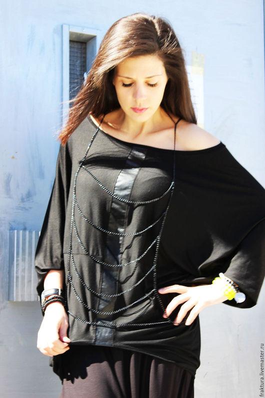 Блузки ручной работы. Ярмарка Мастеров - ручная работа. Купить Блузка с кожаной лентой спереди B0004. Handmade. Черный