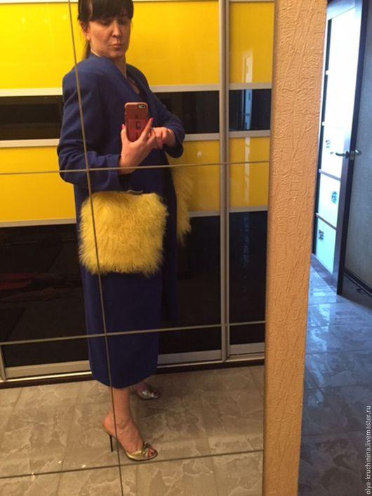Верхняя одежда ручной работы. Ярмарка Мастеров - ручная работа. Купить Кардиган с кармашками из меха ламы. Handmade. Комбинированный