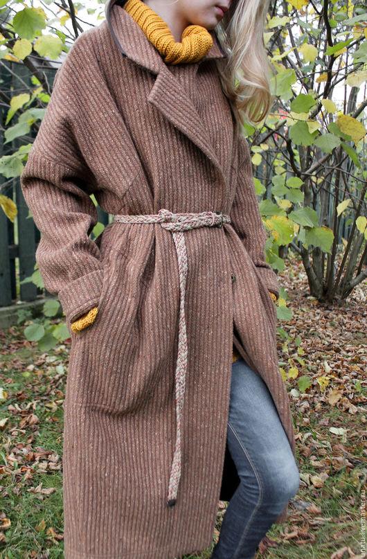 Верхняя одежда ручной работы. Ярмарка Мастеров - ручная работа. Купить Пальто женское, без подкладки.. Handmade. Коричневый