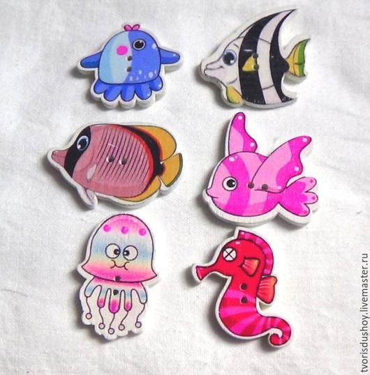 """Куклы и игрушки ручной работы. Ярмарка Мастеров - ручная работа. Купить Пуговицы деревянные """"Морские обитатели"""" микс. Handmade. Разноцветный"""