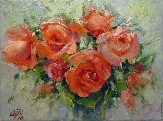Картины цветов ручной работы. Ярмарка Мастеров - ручная работа. Купить Розовое настроение. Handmade. Коралловый, букет цветов