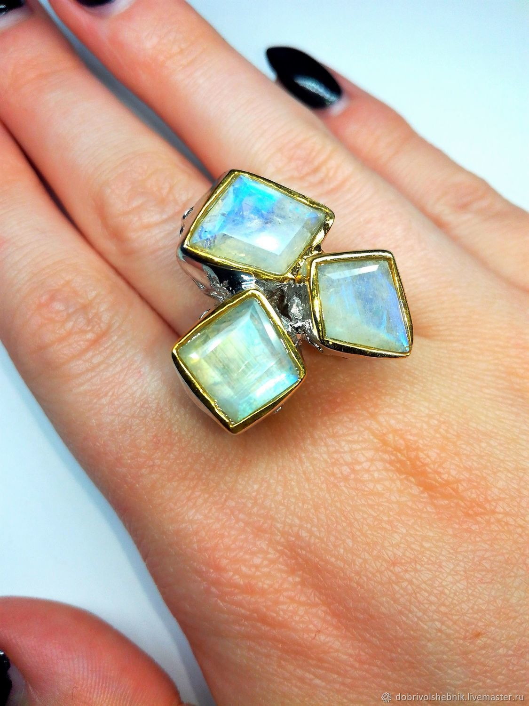 Ring: ' Trio ' with moonstone, Rings, Novaya Usman,  Фото №1