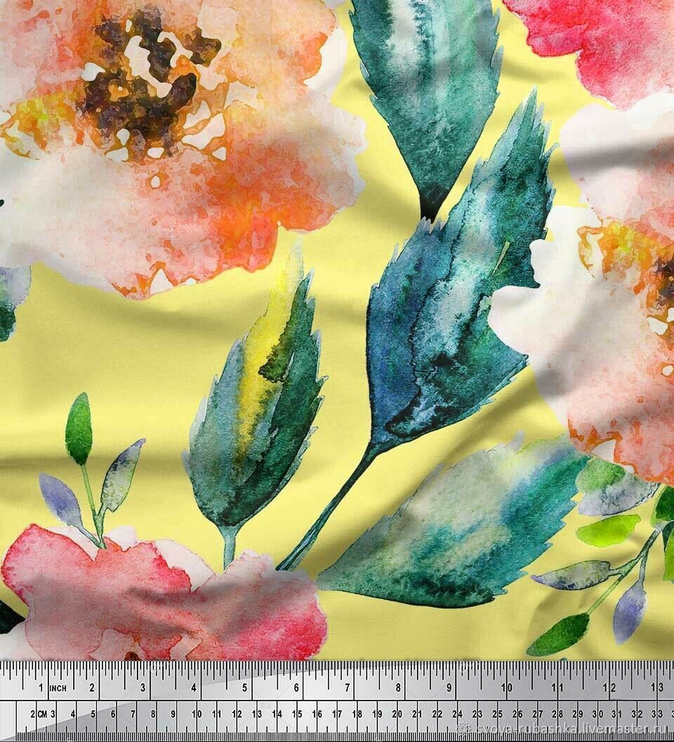"""Хлопковая ткань """"Акварельные цветы"""", Ткани, Новосибирск,  Фото №1"""