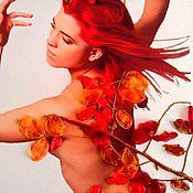 Картины и панно ручной работы. Ярмарка Мастеров - ручная работа Женщина-осень. Картина.Вышивка лентами.. Handmade.