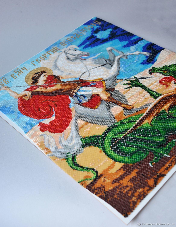 Икона из бисера в технике мозаичного плетения Георгий Победоносец, Иконы, Севастополь,  Фото №1