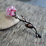 """Украшения ручной работы. Ярмарка Мастеров - ручная работа Брошь """"Роза"""" розовая лэмпворк и медь. Handmade."""