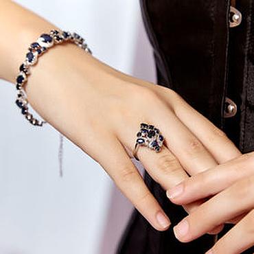 Украшения ручной работы. Ярмарка Мастеров - ручная работа Нежное женственное кольцо с натуральными сапфирами. Handmade.