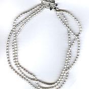 Украшения handmade. Livemaster - original item Beads three-row natural pearl silver. Handmade.
