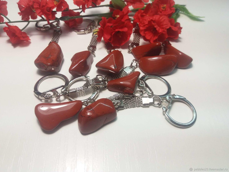 Брелок для ключей из Яшмы красной, натуральный камень