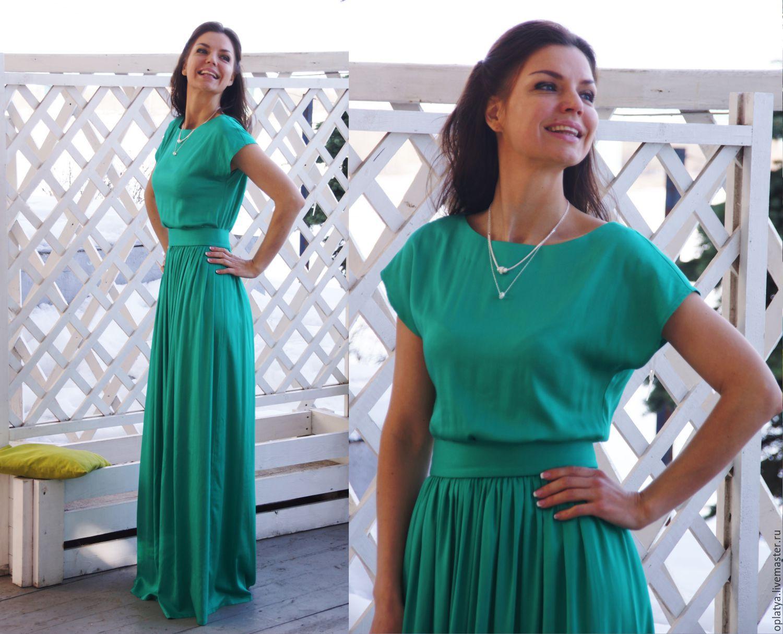 Зеленое длинное летнее платье