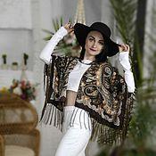 Одежда ручной работы. Ярмарка Мастеров - ручная работа Коричневая накидка с бахромой в стиле бохо, Кимоно с бахромой. Handmade.