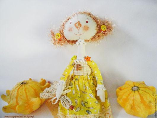 Коллекционные куклы ручной работы. Ярмарка Мастеров - ручная работа. Купить Куколка Сентябринка. Handmade. Желтый, подарок женщине
