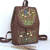 Сумки и аксессуары handmade. Livemaster - original item Linen backpack with hand embroidery