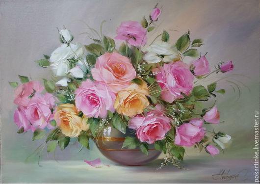 """Картины цветов ручной работы. Ярмарка Мастеров - ручная работа. Купить Картина маслом """"Нежные розы"""". Handmade. Розы"""