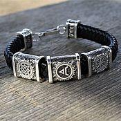 Украшения handmade. Livemaster - original item Men`s Leather Charm Bracelet with Silver Beads. Handmade.