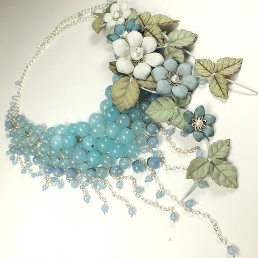 Колье, бусы ручной работы. Ярмарка Мастеров - ручная работа. Купить Прохладно - Голубое Парфе. Колье, цветы из натуральной кожи. Handmade.